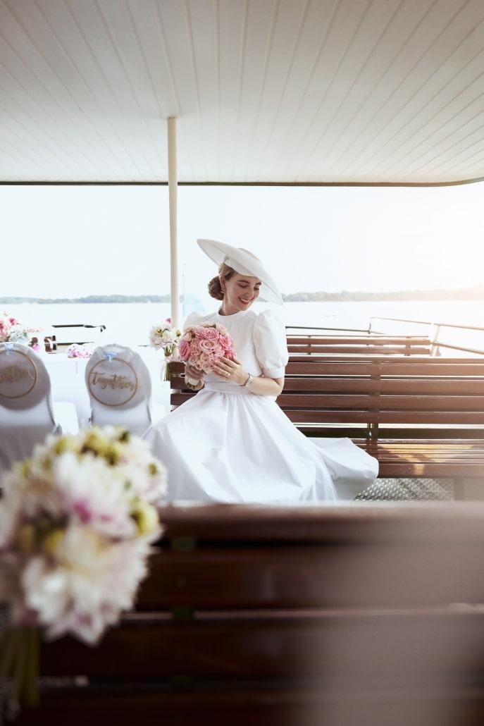 Vintage Brautstyling, Hochzeit auf einem Schiff